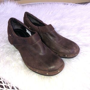 MERRELL Brown Leather Studded Comfort Clogs Sz 7